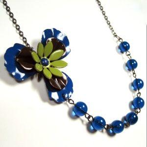 Jewelry - Blue Flower Necklace Handmade Vintage Flowers
